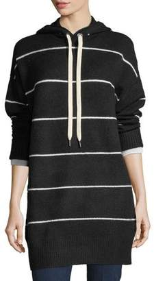 Alice + Olivia Riva Long-Sleeve Hooded Striped Tunic