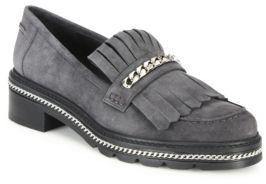 Stuart Weitzman Bmoc Chain & Suede Kilt Loafers $455 thestylecure.com