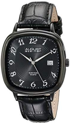 August Steiner Men's AS8155BK Swiss Quartz Watch with Dial and Calfskin Leather Strap