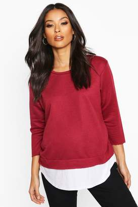 boohoo Maternity 2 in 1 Raw Edge Top