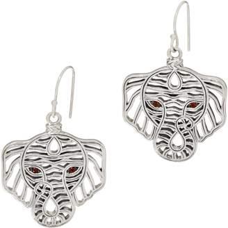 Jai JAI Sterling Silver Figural Elephant Earrings with Garnet Eyes