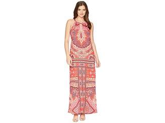 Hale Bob Modern Mosaic Stretch Satin Maxi Dress Women's Dress