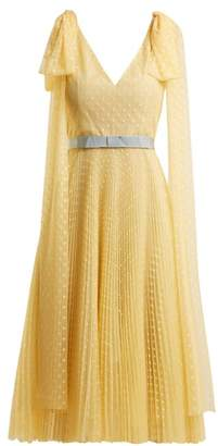 Luisa Beccaria Polka Dot Jacquard Pleated Gown - Womens - Yellow