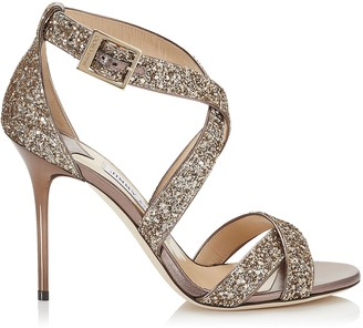 Jimmy Choo LOTTIE Antique Gold Shadow Coarse Glitter Fabric Sandals