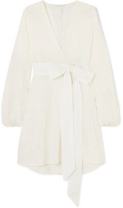 Kalita Gaia Poplin-trimmed Cotton-gauze Wrap Mini Dress