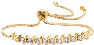 clear SPARKLE ALLURE Sparkle Allure Sparkle Allure Cubic Zirconia 3 CT. T.W. Gold Tone 14K Gold Over Brass Bolo Bracelet