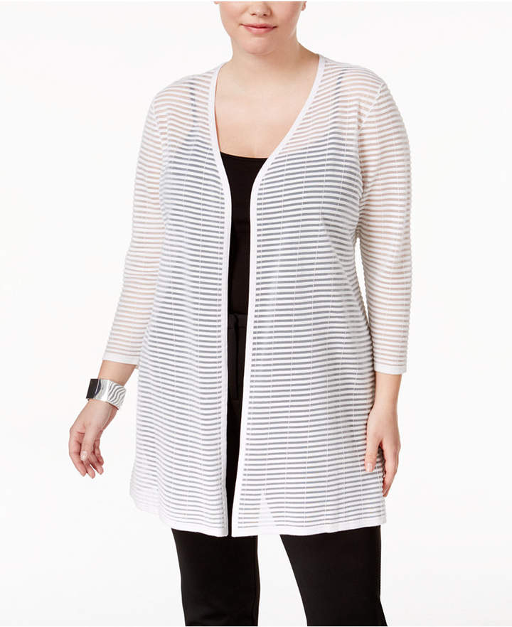 AlfaniAlfani Plus Size Sheer-Stripe Duster Cardigan, Only at Macy's
