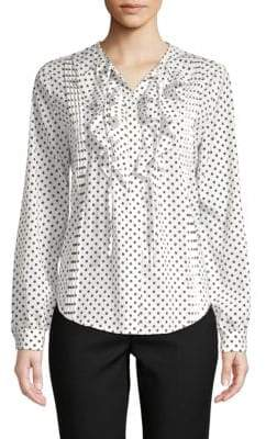 Saks Fifth Avenue Dot-Print Ruffle-Front Blouse