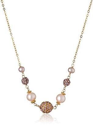 Alternating Graduated Freshwater Cultured Pearls and Fireball Center on Gold over Silver Chain Necklace