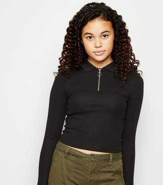 New Look Girls Long Sleeve Zip Polo Shirt