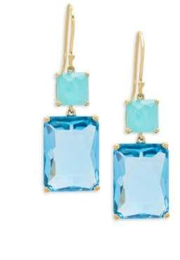 Ippolita Rock Candy Amazonite, Blue Topaz and 18K Gold Rectangle Snowman Earrings