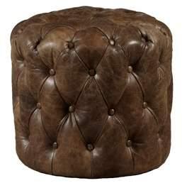 HomeFare Button Tufted Leather Ottoman