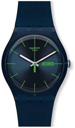 Swatch Blue Rebel Silicone Strap Watch