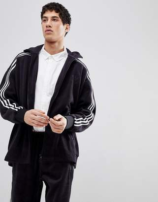 adidas Adicolor Velour Track Jacket In Oversized Fit In Black Cy3541
