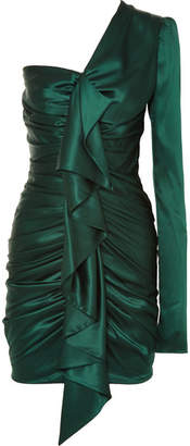 Alexandre Vauthier One-shoulder Ruched Silk-blend Satin Mini Dress - Emerald