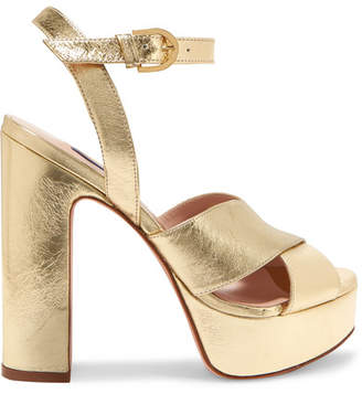 Stuart Weitzman Joni Metallic Leather Platform Sandals - Gold