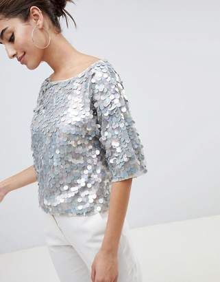 Asos Design DESIGN oversized t-shirt with all over disc sequins