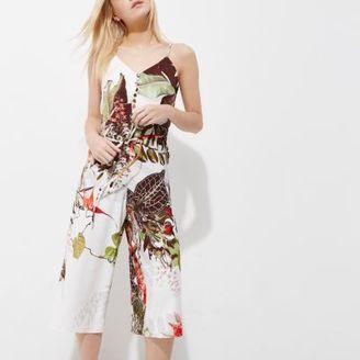 River Island Womens Petite cream floral cami culotte jumpsuit