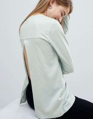 Asos Design T-Shirt With Long Sleeve Split Back