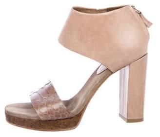 Brunello Cucinelli Python-Trimmed Platform Sandals