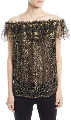 Naeem Khan Off-the-Shoulder Ruffled Metallic Evening Blouse