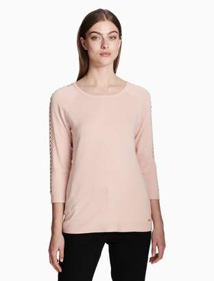Calvin Klein studded 3/4 sleeve pullover top