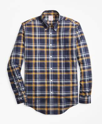 Brooks Brothers Non-Iron Madison Fit Navy-Gold Plaid Sport Shirt