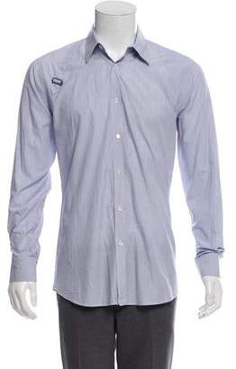 Alexander McQueen Buckle-Accented Striped Shirt