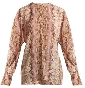 Emilia Wickstead - Dalia Python Print Silk Crepe De Chine Blouse - Womens - Animal