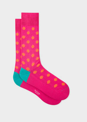 Paul Smith Men's Bright Pink Polka Dot Socks