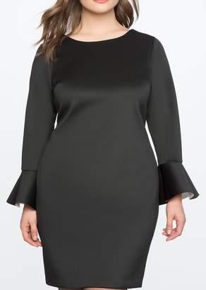 ELOQUII Lace Back Flared Sleeve Dress (Plus Size)