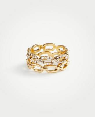 Ann Taylor Pave Link Stacked Ring Set