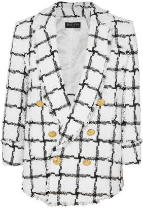 Balmain Double-breasted Checked Tweed Blazer - White