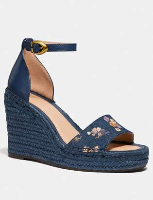 Coach Kit Wedge Espadrille With Floral Bow Print