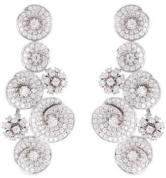 Lazare Kaplan Diamond 18k white gold swirl drop earrings