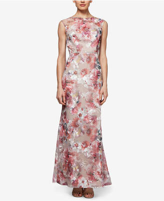 Sl Fashions Floral Mesh Embroidered Gown