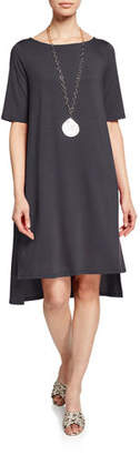 Eileen Fisher Elbow-Sleeve High-Low Jersey Dress, Plus Size