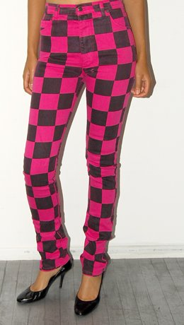Ksubi Pink and Black Checkered High Waisted Denim, 70% off