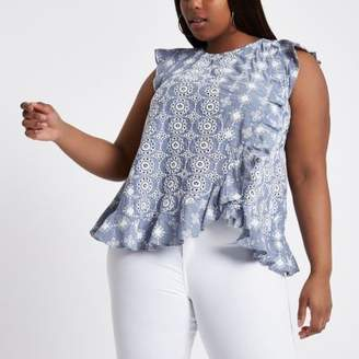 River Island Womens Plus blue broderie frill shell top