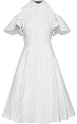 Zac Posen Cold-Shoulder Ruffle-Trimmed Cotton-Poplin Shirt Dress