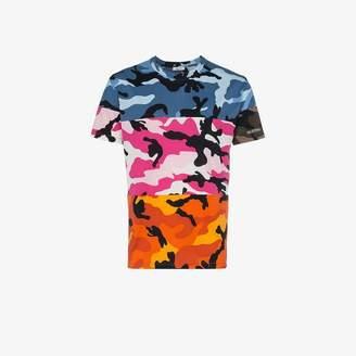 Valentino panelled camouflage print t shirt