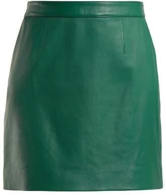 ALEXACHUNG Leather Mini Skirt - Womens - Green