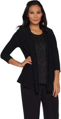 Dennis Basso Caviar Crepe Cardigan w/ Attached Lurex Shell