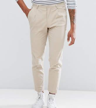 Blend of America ASOS DESIGN ASOS TALL Skinny Crop Smart Pants In Stone Textured Linen