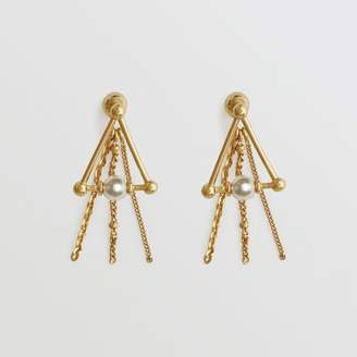 Burberry Faux Pearl and Triangle Gold-plated Drop Earrings