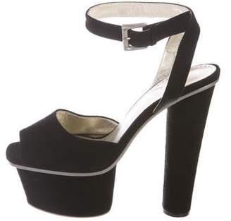 Halston Suede Platform Sandals