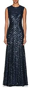 Sophia Kah Women's Sequined Open-Back Gown - Navy
