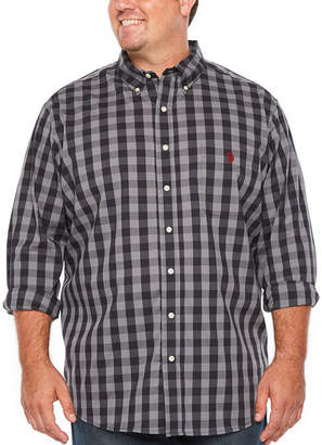 U.S. Polo Assn. USPA Long Sleeve Checked Button-Front Shirt-Big and Tall