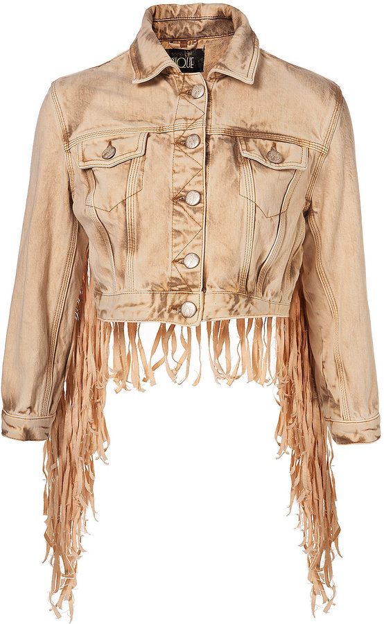 Sand Fringed Denim Jacket By Unique**