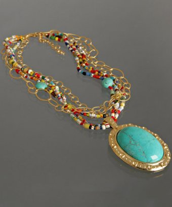 A.V. Max turquoise oval pendant beaded short necklace